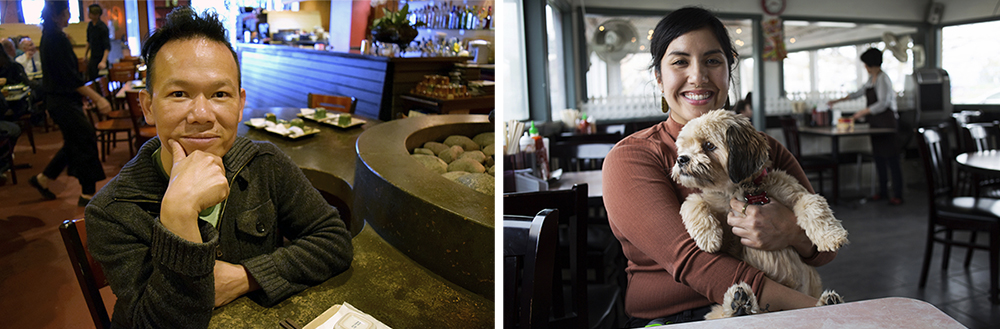 Left: Tam Nguyen opened Tamarind Tree in 2004 to help introduce the larger Seattle community to Vietnamese cuisine. Right: Yenvy Pham, co-owner of Pho Bac, got more involved in the community after meeting Nguyen at a neighborhood meeting. (Diana Nguyen/NextGenRadio)